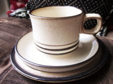 DENBY GLAZED OATMEAL BROWN RINGS STONEWARE TRIO CUP SAUCER SIDEPLATE GREAT COND